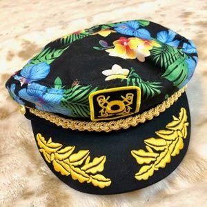 13dace2fe neon lights Accessories - Floral Hawaiian Hibiscus Skipper Captain's Hat cap